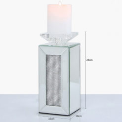 Small 24cm Diamond Glitz Mirrored Pillar Tealight Candle Holder