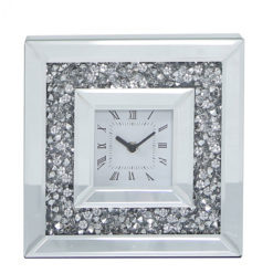 Table Clock With A Clear Mirror Border And A Crystal Encrusted Frame