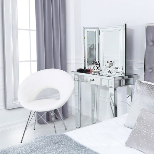 White Deeply Padded Chrome And Faux Leather Orb Chair