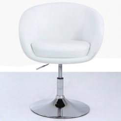 White Deeply Padded Chrome And Faux Leather Swivel Chair