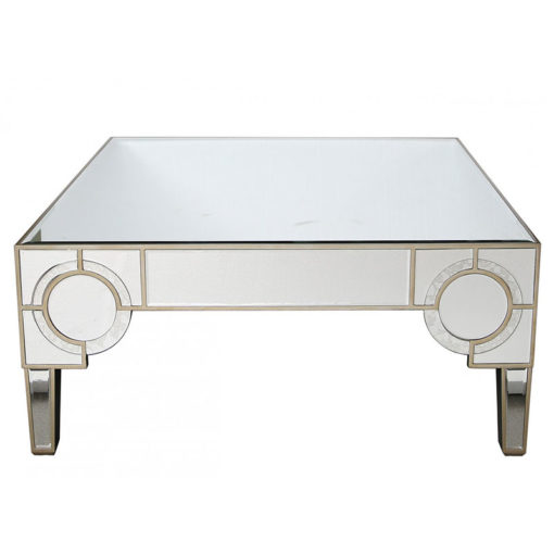 Whittaker Antique Mirrored Coffee Table With Geometric Circle Design