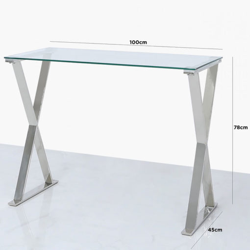 Zenn Stainless Steel Cross Frame Office Desk With A Tempered Glass Top