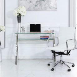 Zenn Stainless Steel Office Desk With A Clear Tempered Glass Table Top