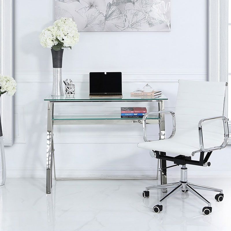 Zenn Stainless Steel Office Desk With A Clear Tempered Glass Table