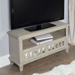 Bayside Mirrored Hampton Style 2 Drawer TV Stand Entertainment Unit