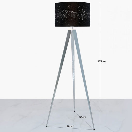 Hollywood Chrome Tripod Floor Lamp With Black Velvet Sparkle Shade