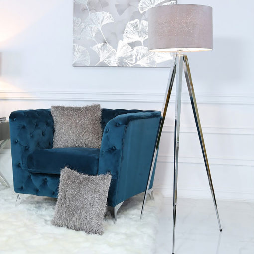 Hollywood Chrome Tripod Floor Lamp With Grey Velvet Sparkle Shade