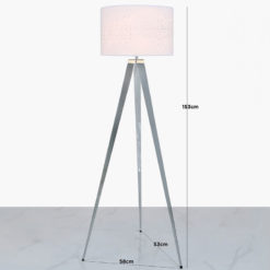 Hollywood Chrome Tripod Floor Lamp With White Velvet Sparkle Shade