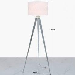 Hollywood Chrome Tripod Floor Lamp With White Velvet Sparkle Shade