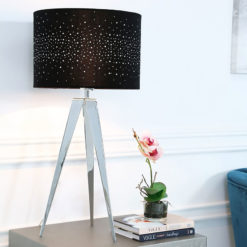 Hollywood Chrome Tripod Table Lamp With Black Velvet Sparkle Shade