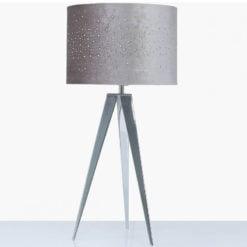 Hollywood Chrome Tripod Table Lamp With Grey Velvet Sparkle Shade