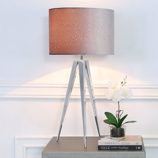 Hollywood Chrome Tripod Table Lamp With Grey Velvet Sparkle Shade