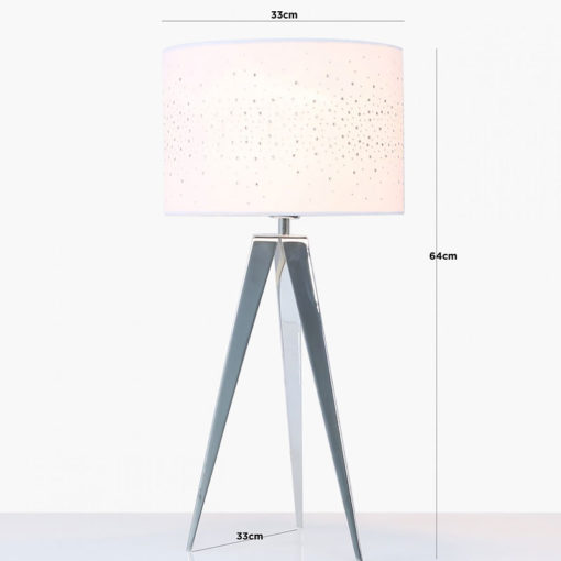Hollywood Chrome Tripod Table Lamp With White Velvet Sparkle Shade