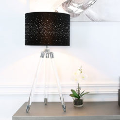 Hollywood Tripod Table Lamp With Black Velvet Shade And Diamantes