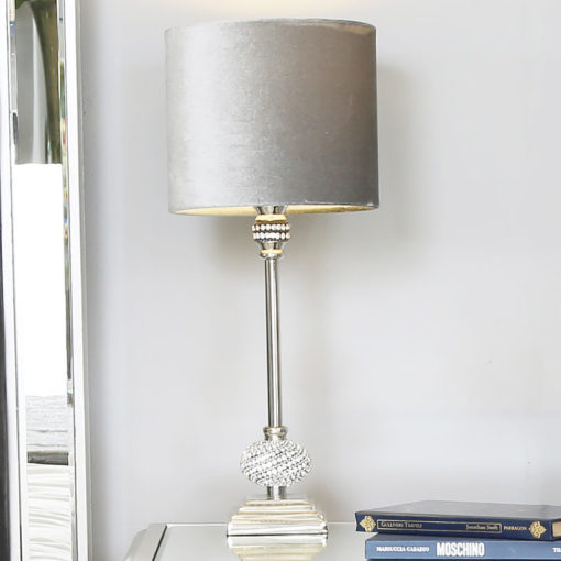 Nickel Diamante Candlestick Table Lamp With Grey Velvet Shade