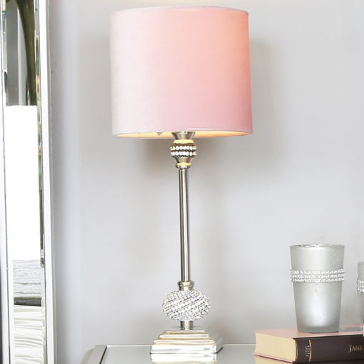 Nickel Diamante Candlestick Table Lamp With Pink Velvet Shade