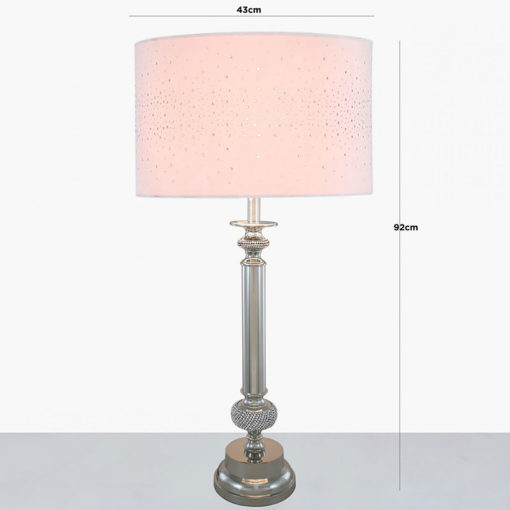 Nickel Diamante Candlestick Table Lamp With Pink Velvet Sparkle Shade