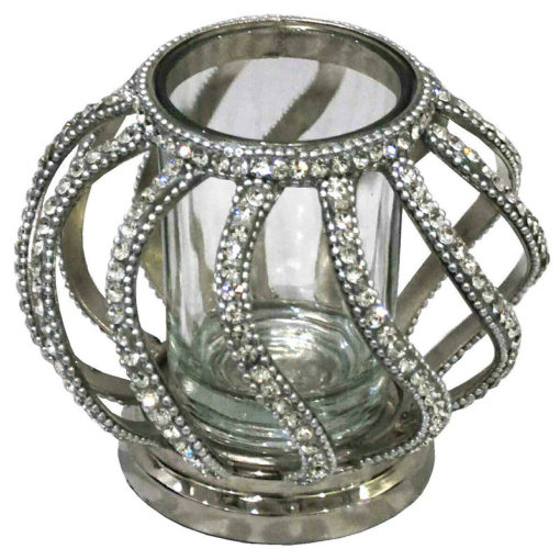 Nickel Diamond Diamante and Glass Sparkly Candle Tealight Holder