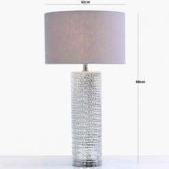 Silver Glass Table Lamp With Grey Linen Shade