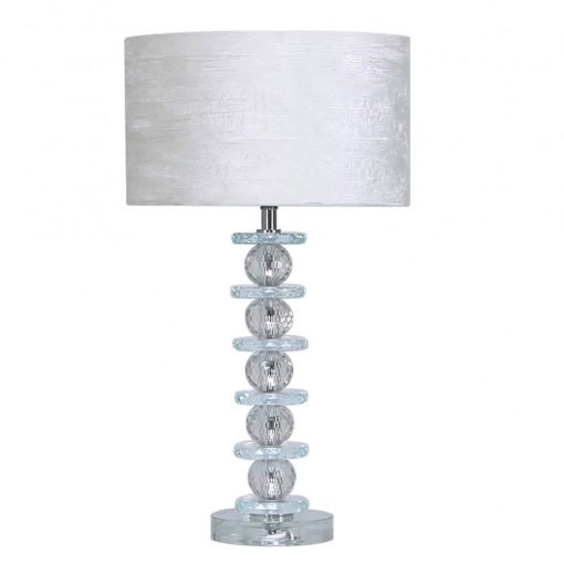 Stacked Ball Design Crystal Glass Table Lamp With A White Velvet Shade