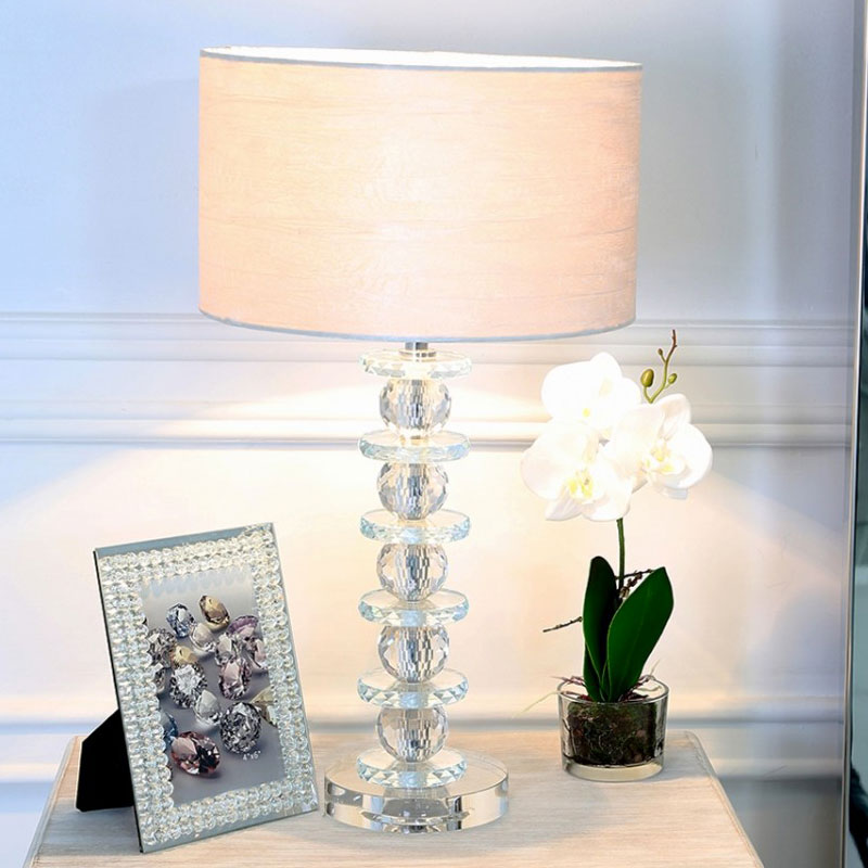 Stacked Ball Design Crystal Glass Table