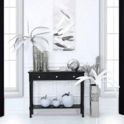 Arabella Black Wood Medium 3 Drawer Console Table Hallway Table