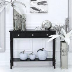 Arabella Black Wood Medium 3 Drawer Console Table Hallway Table