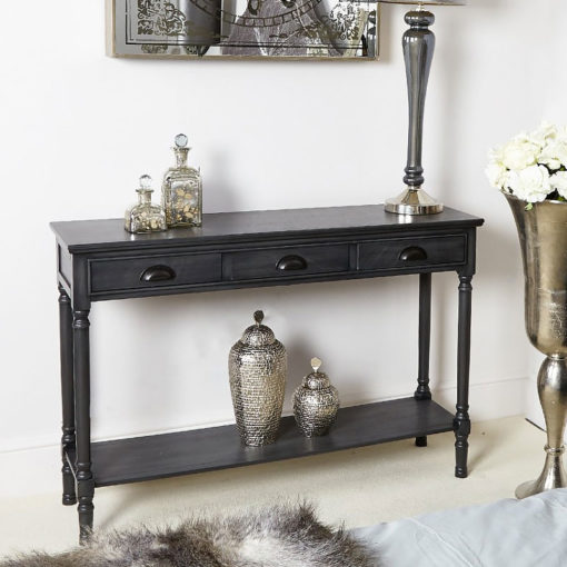 Arabella Grey Wood Large 3 Drawer Console Table Hallway Table