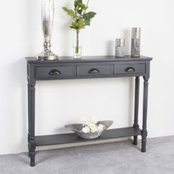 Arabella Grey Wood Medium 3 Drawer Console Table Hallway Table