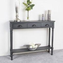 Arabella Grey Wood Medium 3 Drawer Console Table Hallway Table