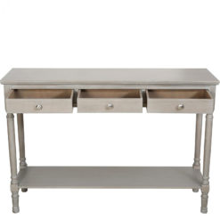 Arabella Taupe Wood Large 3 Drawer Console Table Hallway Table