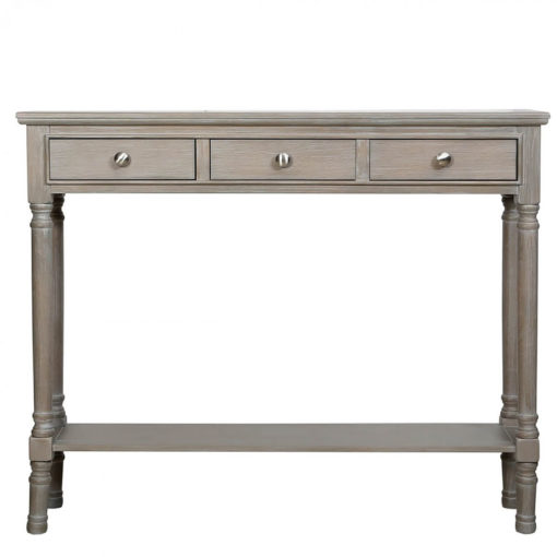 Arabella Taupe Wood Medium 3 Drawer Console Table Hallway Table