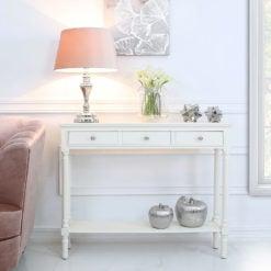 Arabella White Wood Medium 3 Drawer Console Table Hallway Table