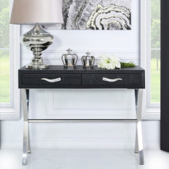 Black Faux Snakeskin Leather 2 Drawer Console Table Hallway Table