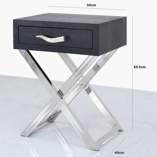 Black Faux Snakeskin Leather And Stainless Steel 1 Drawer End Table