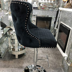 Black Velvet Upholstered Bar Stool Chrome Lion Knocker Tufted Back