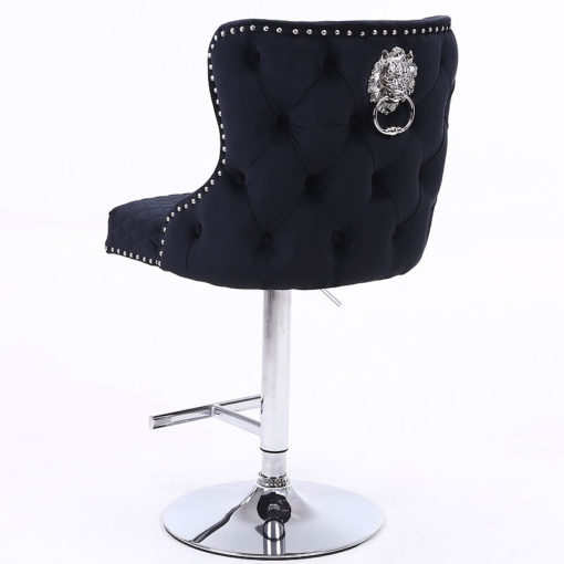 Diana Black Velvet Upholstered Bar Stool Chrome Lion Knocker Tufted Back