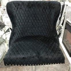 Black Velvet Upholstered Bar Stool Chrome Lion Knocker Tufted Back
