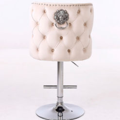 Anais Cream Mink Upholstered Bar Stool Chrome Lion Knocker Tufted Back