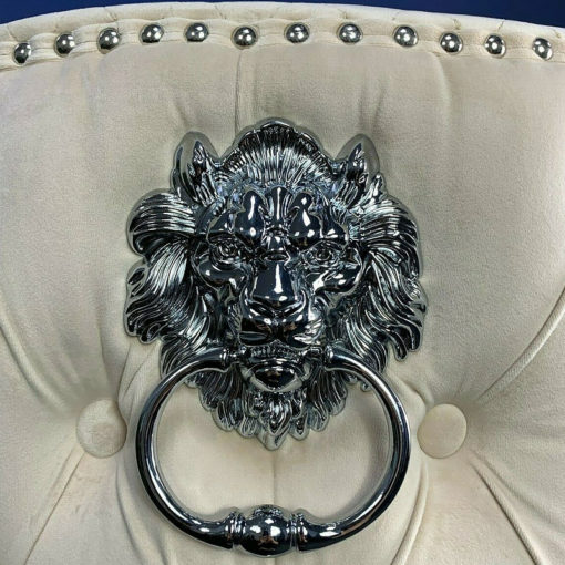 Diana Cream Mink Upholstered Bar Stool Chrome Lion Knocker Tufted Back
