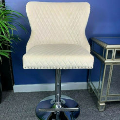 Cream Mink Upholstered Bar Stool Chrome Lion Knocker Tufted Back