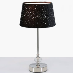Crystal And Chrome Table Lamp With Black Velvet Sparkle Shade