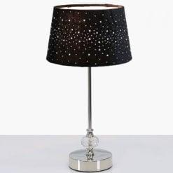 Crystal And Chrome Table Lamp With Black Velvet Sparkle Shade