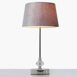 Crystal And Chrome Table Lamp With Grey Velvet Sparkle Shade