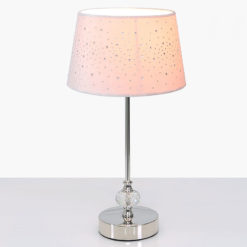 Crystal And Chrome Table Lamp With Pink Velvet Sparkle Shade