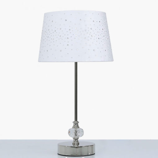 Crystal And Chrome Table Lamp With White Velvet Sparkle Shade