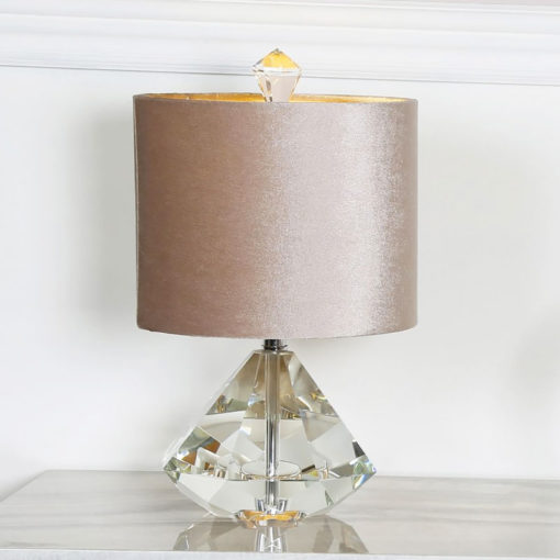 Crystal Diamond Table Lamp With 9inch Champagne Velvet Shade 38cm