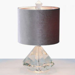 Crystal Diamond Table Lamp With 9inch Grey Velvet Shade 38cm