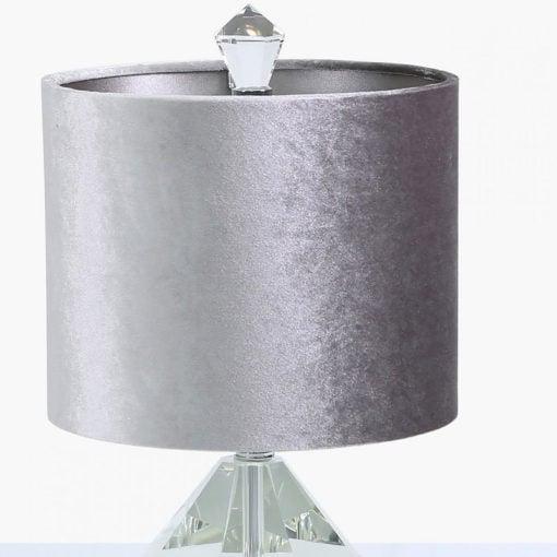 Crystal Diamond Table Lamp With 9inch Grey Velvet Shade 38cm