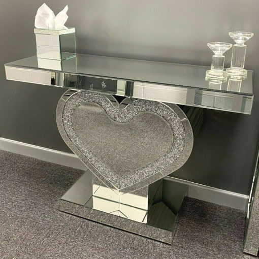 Diamond Glitz Crushed Crystal Heart Console Display Dressing Table
